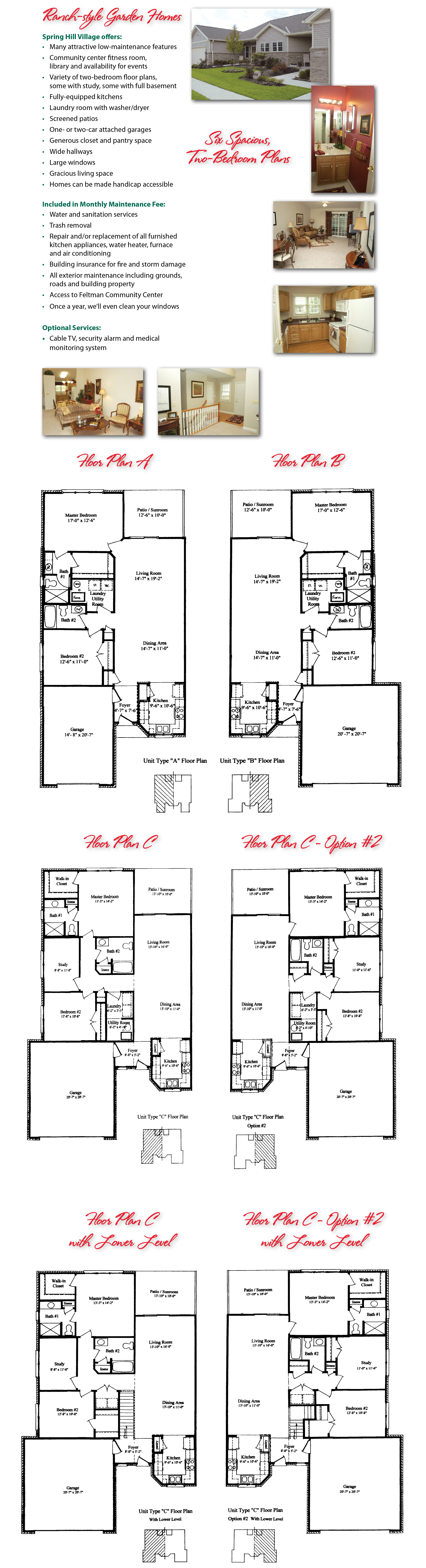 Rendderings of Spring Hill Floor Plans